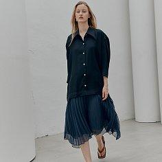 ROSE Plisse Chiffon Contrast Dress_Navy