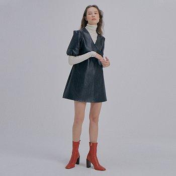 [이지아 착용] Leather Mini Dress_Black