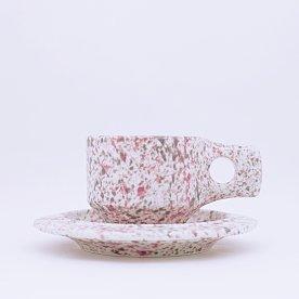[Fabrik Pottery] 스플래쉬 플랫 컵 & 소서 세트 Pink & Grey