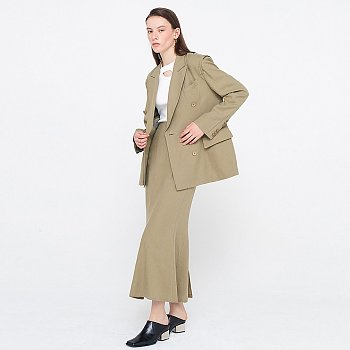 Zigzag Linen Jacket_Khaki
