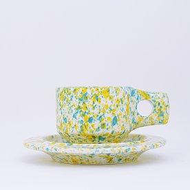 [Fabrik Pottery] 스플래쉬 플랫 컵 & 소서 세트 Yellow & Mint Blue