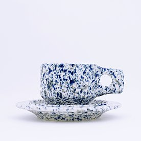 [Fabrik Pottery] 스플래쉬 플랫 컵 & 소서 세트 Beach Blue & Grey