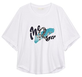 프론트 레터링 와이드 티셔츠