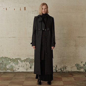 VERSO Double Layered Two Way Trench Coat_Deep Black