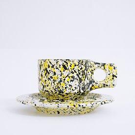 [Fabrik Pottery] 스플래쉬 플랫 컵 & 소서 세트 Yellow & Black (BOONTHESHOP Exclusive)