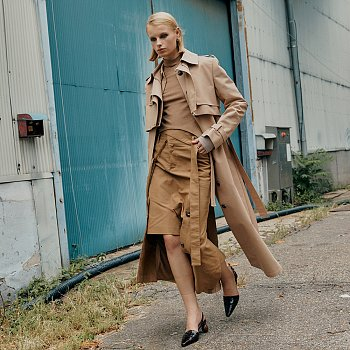 VERSO Double Layered Two Way Trench Coat_Camel Beige