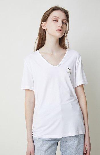 로고 그래픽 브이넥 티셔츠
