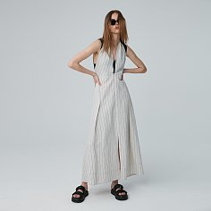 Skirt Dress Stripe Wide Strap Light Beige