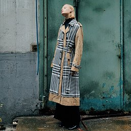 [Fabric  From Italy] BERNARD Side Belt Trench Coat_Gingham Check