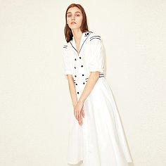 [TC21SSOP04WH] FLOWER SAILOR DRESS [WHITE]