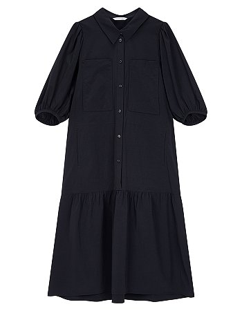 투 포켓 퍼프 슬리브 셔츠 원피스