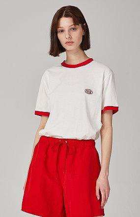 포인트 컬러 디테일 티셔츠