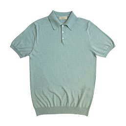 14gg Silk Cotton Half Polo Knit (Mint)