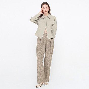 Zigzag Tuck Trousers_Melange Brown