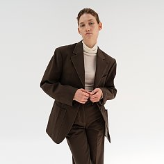 cotton stitch over-fit  jacket (brown)