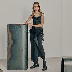 Asymmetric draped front cotton denim midi skirt