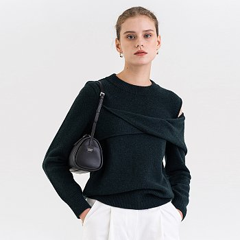 FW21 울 Wool Draped Pullover Forest
