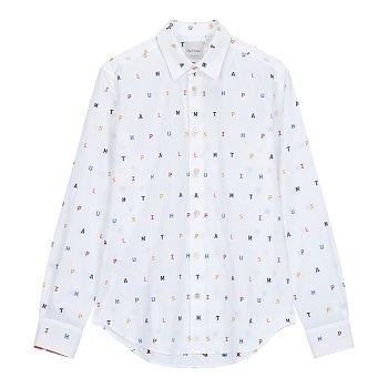 슬림 핏 자수 셔츠