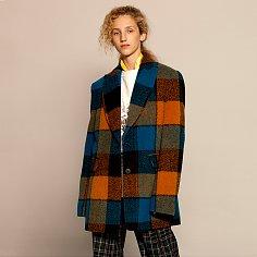 [오영주 착용] Check Wool Half Coat
