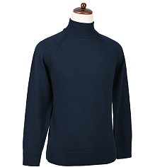 Superfine Merino Wool Mock-neck (Navy)