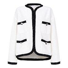★오하영 착용★ [B&W] 배색 라인 포켓 트위드 자켓