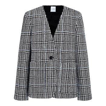 체크 패턴 노카라 자켓