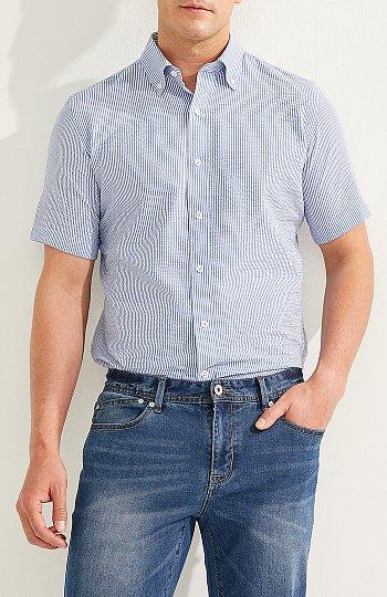 시어서커 하프 슬리브 셔츠