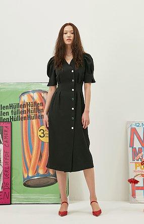 Puff Button Dress in Black