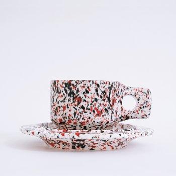 [Fabrik Pottery] 스플래쉬 플랫 컵 & 소서 세트 Red & Black (BOONTHESHOP Exclusive)