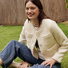 Blanc Crop Tweed Jacket_Ivory