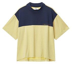 모크넥 컬러블럭 티셔츠