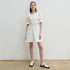 Cotton-seersucker mini dress (white)