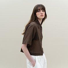 linen crop short-sleeve shirts (brown)