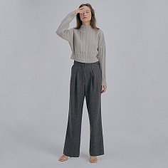 Herringbone Wide Trousers_Brown
