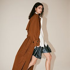 [Fabric From ITALY] LE MUSEE_NEUF Oversized Belted Trench Coat_Brick