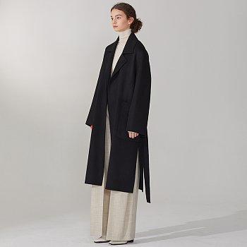 REINE Cashmere Blend Reversible Coat_Deep Black