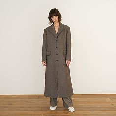Coat Twill Peaked Lapel Melange Brown