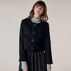 Blanc crop tweed jacket_Black