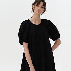 [ESSENTIAL] Voluminous Twisted Sleeve Dress Black