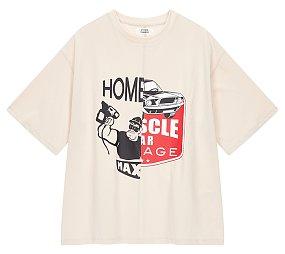 컬러 패치 그래픽 티셔츠