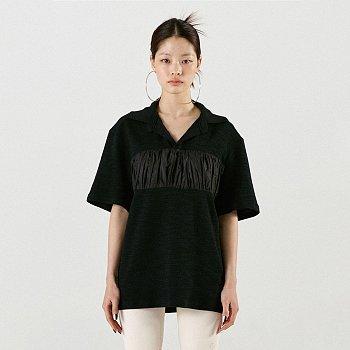 Shirring Oversized Polo Black