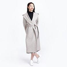 여 울 헤링본 후드 핸드메이드 코트