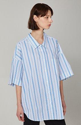 스트라이프 백프린트 셔츠