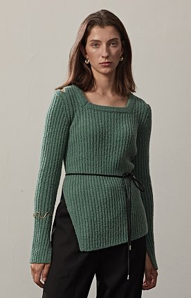 RIBBED-KNIT SQUARE NECK PULLOVER(D.MINT)