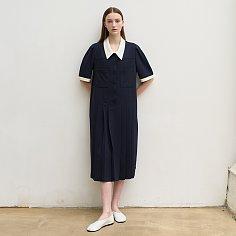 Diana pleated midi dress (navy)