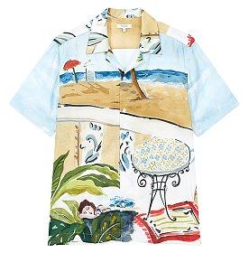 하와이안 프린트 실키 셔츠 (TOMEI)