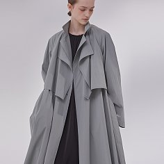 DEMERE LAYERED TRENCH COAT (LIGHT GRAY)