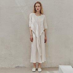 L'ETE ROBE Drape Linen Dress_Off White