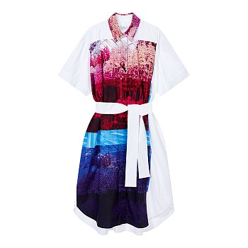 [PS PAUL SMITH] 여성 부분 프린트 셔츠 원피스