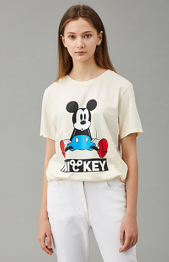 [V MICKEY] 미키 그래픽 슬릿 티셔츠